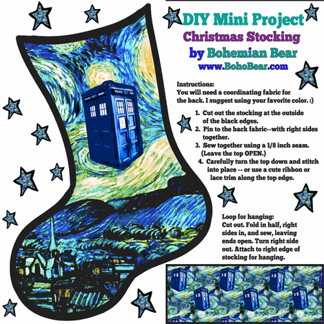Doctor Who Inspired Christmas Stocking DIY Project - Starry Night TARDIS  fabric by bohobear on Spoonflower - custom fabric