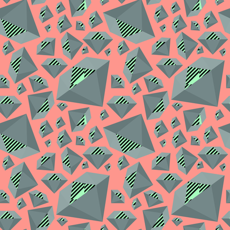 Gray Mint Striped Diamonds on Peach fabric by pencilmein on Spoonflower - custom fabric