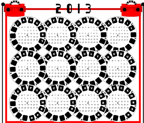 Viewmaster Calendar 2013 fabric by ninjaauntsdesigns on Spoonflower - custom fabric