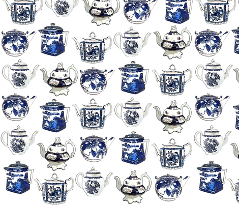 teapotsfabrepeat-ed fabric by indigo313 on Spoonflower - custom fabric