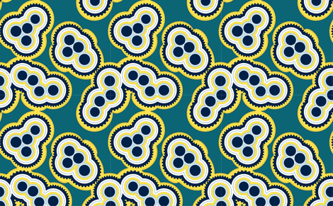 Turquoise and Navy Mitosis fabric by mewack on Spoonflower - custom fabric