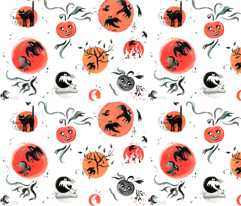 Halloween_Dots fabric by sandie_tee on Spoonflower - custom fabric