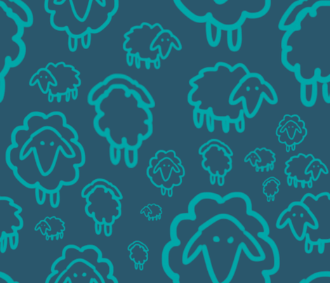 Sheep - blue fabric by kkennedy on Spoonflower - custom fabric
