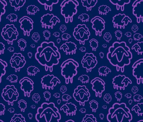 Sheep- purple fabric by kkennedy on Spoonflower - custom fabric