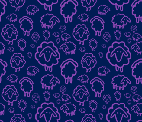Sheep- purple fabric by kkennedy on Spoonflower - custom fabric
