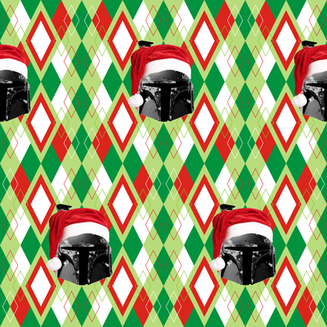 Argyle Christmas Boba Fett fabric by smuk on Spoonflower - custom fabric