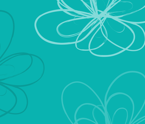 Turquoise Scribbleflower fabric by rosiesimons on Spoonflower - custom fabric