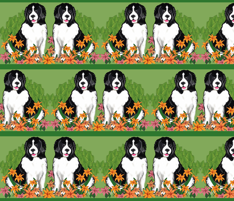 Landseer In The Garden Wallpaper fabric by dogdaze_ on Spoonflower - custom fabric