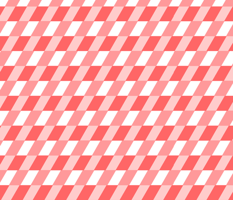 Diagonal checks in coral fabric by little_fish on Spoonflower - custom fabric