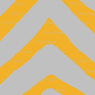 Yellow and Grey Chevron by Bohemian Bear