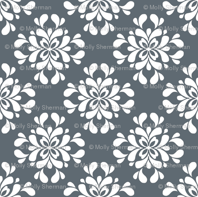 White on Gray Floral