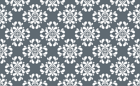 White on Gray Floral  fabric by mewack on Spoonflower - custom fabric