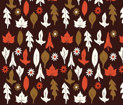 Autumn Leaves - Chocolate fabric by papersparrow on Spoonflower - custom fabric