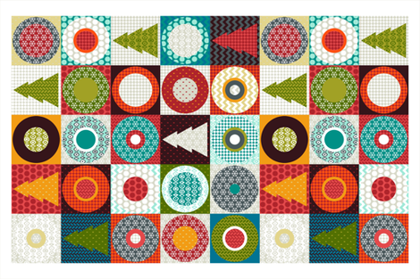 geo christmas tea towel fabric by scrummy on Spoonflower - custom fabric