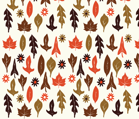 Autumn Leaves - Cream fabric by papersparrow on Spoonflower - custom fabric
