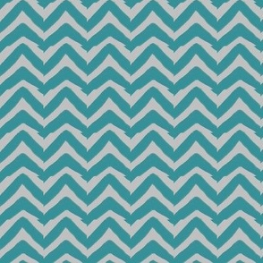 Teal Blue and Grey Jagged Chevron