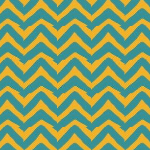 Jagged Teal and Mustard Yellow Chevron