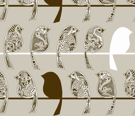 Henna Birds - Tan fabric by dianef on Spoonflower - custom fabric