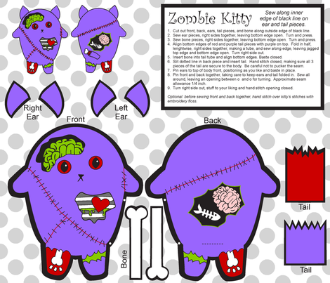 zombie_kitty fabric by crystalef on Spoonflower - custom fabric