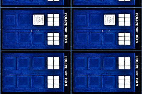 police box doors (front and back panels) fabric by bohobear on Spoonflower - custom fabric