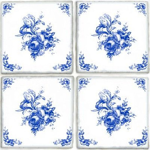 Swedish Delft Rose Tile