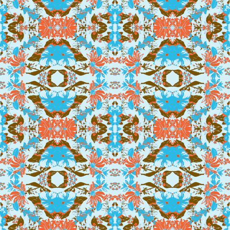 blue brown orange flowers fabric by bettinablue_designs on Spoonflower - custom fabric