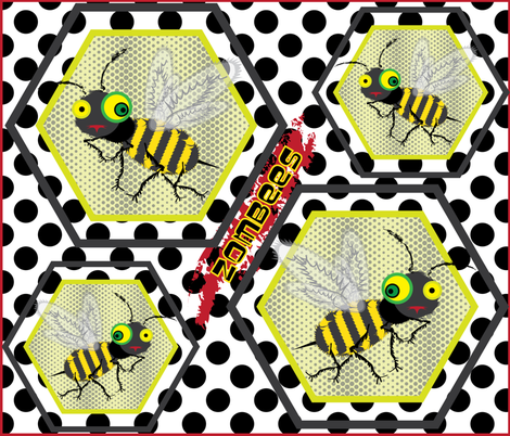 Zombees are Here! fabric by owlandchickadee on Spoonflower - custom fabric