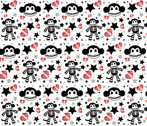 Skeleton Monkey Confetti fabric by pumpkinbones on Spoonflower - custom fabric