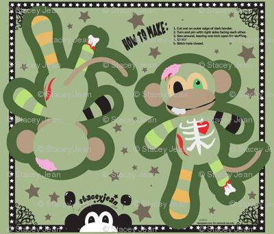 "14"" Zombie Monkey Pillow Doll (fat quarter)"