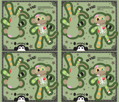 """14"""" Zombie Monkey Pillow Doll (fat quarter) fabric by staceyjean on Spoonflower - custom fabric"""