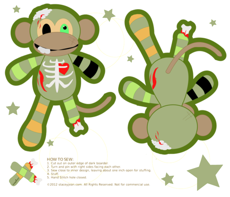 Zombie Monkey Plush Doll