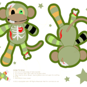 Cut and Sew Zombie Monkey Pillow Doll