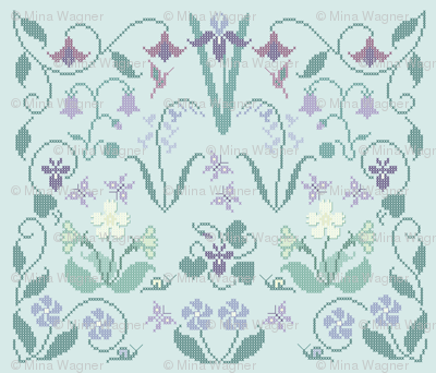 Cross-stitch garden flower sampler embroidery pattern and cheater fabric on pale seafoam - look at swatch view to see stitches