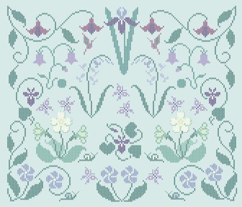 Cross-stitch garden flower sampler embroidery pattern and cheater fabric on pale seafoam - look at swatch view to see stitches fabric by mina on Spoonflower - custom fabric