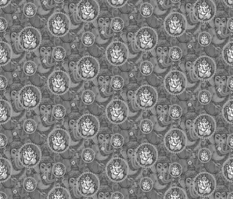 Big Grey Bejewelled Ganesh fabric by lovekittypink on Spoonflower - custom fabric