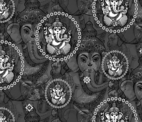 Big Mono Bejewelled Ganesh fabric by lovekittypink on Spoonflower - custom fabric