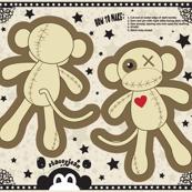 "14"" Voodoo Monkey Pillow Doll (fat quarter)"