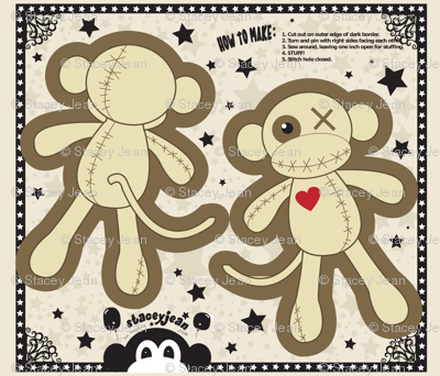 "14"" Voodoo Monkey Pillow Doll (fat quarter)"