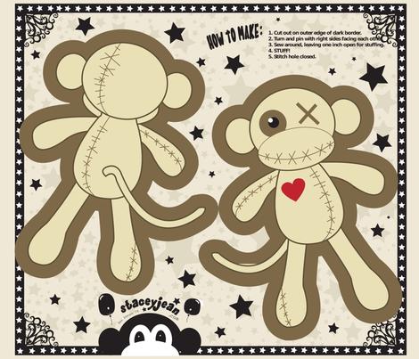 "FQ - 10"" x 14"" Voodoo Monkey Cut & Sew Pillow Doll fabric by pumpkinbones on Spoonflower - custom fabric"