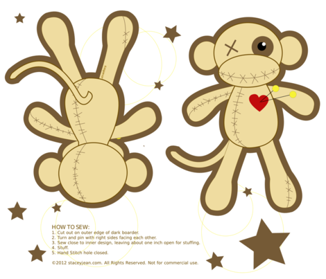 Cut and Sew Voodoo Monkey Pillow Doll fabric by staceyjean on Spoonflower - custom fabric