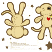 Voodoo Fabric Monkey Doll