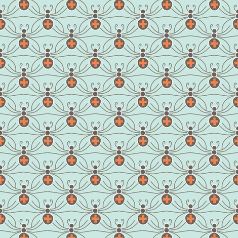 A Web of Black Widows - mint fabric by kayajoy on Spoonflower - custom fabric