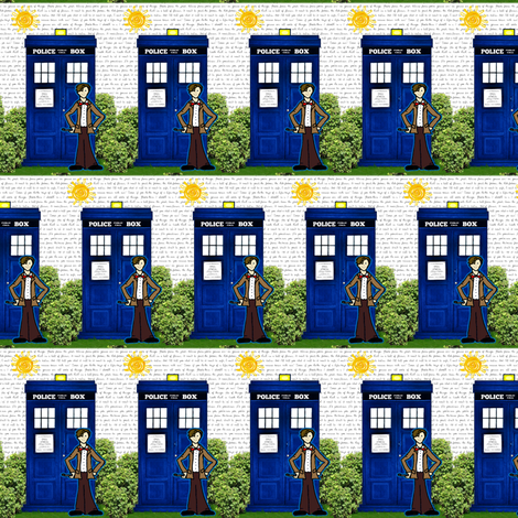 Doctor Who Inspired TARDIS and Matt Smith Toile fabric by bohobear on Spoonflower - custom fabric