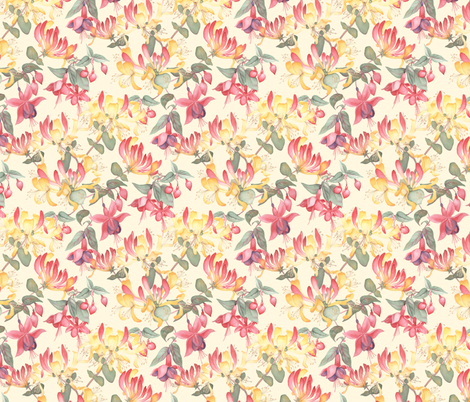 Fuschia & Honeysuckle - cream background fabric by gail_mcneillie on Spoonflower - custom fabric