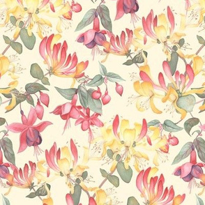 Fuschia & Honeysuckle - cream background