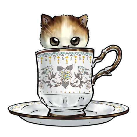Kitten Tea Party, In the cup fabric by ninniku on Spoonflower - custom fabric