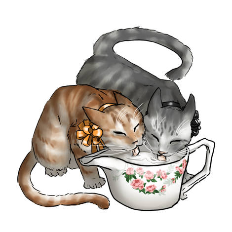 Kitten Tea Party, Drinking Creamer fabric by ninniku on Spoonflower - custom fabric