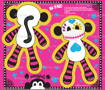 "FQ - 10"" x 14"" Sugar Skull Cut & Sew Pillow Doll"