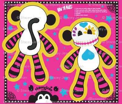 """14"""" Sugar Skull Pillow Doll (fat quarter)"""