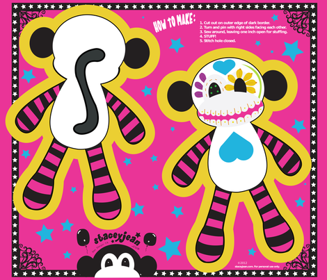 "14"" Sugar Skull Pillow Doll (fat quarter)"